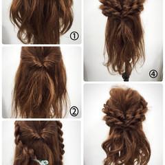 ヘアアレンジ セミロング ハーフアップ ヘアスタイルや髪型の写真・画像