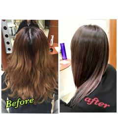 グラデーションカラー ストレート セミロング ハイライト ヘアスタイルや髪型の写真・画像