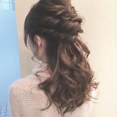 ハーフアップ 大人かわいい フェミニン セミロング ヘアスタイルや髪型の写真・画像