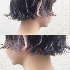 切りっぱなし ナチュラル グレージュ インナーカラー ヘアスタイルや髪型の写真・画像