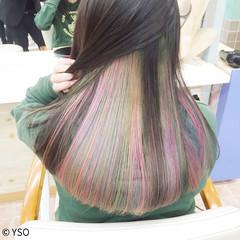ストリート セミロング 個性的 黒髪 ヘアスタイルや髪型の写真・画像
