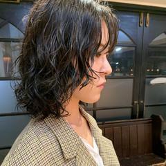 モード 無造作パーマ ボブ エアウェーブ ヘアスタイルや髪型の写真・画像