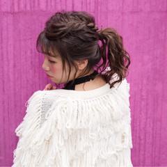 パーマ ストリート ハーフアップ ミディアム ヘアスタイルや髪型の写真・画像