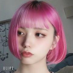 オルチャン 韓国ヘア ボブ 派手髪 ヘアスタイルや髪型の写真・画像