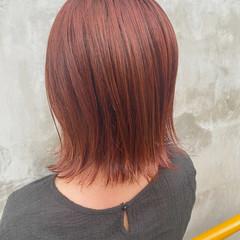 ストリート 切りっぱなしボブ オレンジカラー ラベンダーピンク ヘアスタイルや髪型の写真・画像
