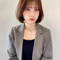 韓国風ヘアー モテボブ シースルーバング 韓国ヘア ヘアスタイルや髪型の写真・画像