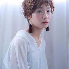 リラックス ショート アンニュイ デート ヘアスタイルや髪型の写真・画像
