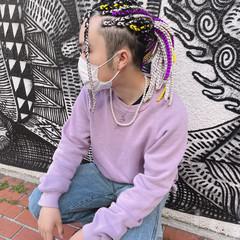 ドレッド ブレイズ セミロング 派手髪 ヘアスタイルや髪型の写真・画像