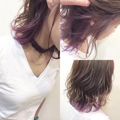 パープル インナーカラー ピンク ナチュラル ヘアスタイルや髪型の写真・画像