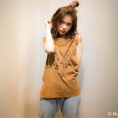 外国人風 簡単ヘアアレンジ ハーフアップ ミディアム ヘアスタイルや髪型の写真・画像