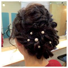 ヘアアレンジ ミディアム パーティ アップスタイル ヘアスタイルや髪型の写真・画像