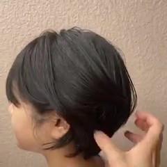 ショートボブ 切りっぱなしボブ ショート フェミニン ヘアスタイルや髪型の写真・画像