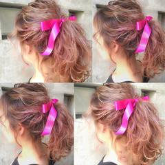 フェミニン ヘアアレンジ ハーフアップ ショート ヘアスタイルや髪型の写真・画像