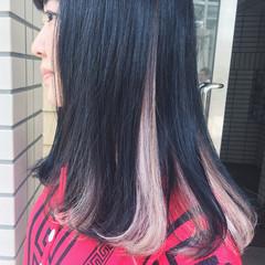 ホワイト インナーカラー ネイビー ダブルカラー ヘアスタイルや髪型の写真・画像