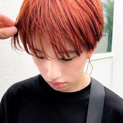オレンジカラー オレンジ オレンジベージュ ベリーショート ヘアスタイルや髪型の写真・画像