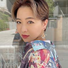 デザインカラー ハンサムショート ショート ハイライト ヘアスタイルや髪型の写真・画像