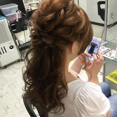 ヘアアレンジ 編み込み ハーフアップ ロング ヘアスタイルや髪型の写真・画像