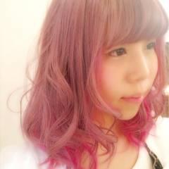 ゆるふわ ガーリー ピンク レッド ヘアスタイルや髪型の写真・画像