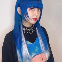 フェミニン インナーカラー 派手髪 ロング ヘアスタイルや髪型の写真・画像