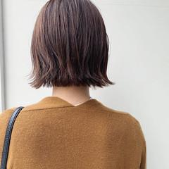 外ハネボブ ナチュラル アプリコットオレンジ ミニボブ ヘアスタイルや髪型の写真・画像