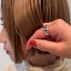 ボブ ミニボブ 艶カラー 透明感 ヘアスタイルや髪型の写真・画像