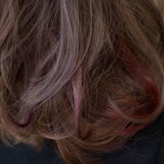 秋 モード ピンク パープル ヘアスタイルや髪型の写真・画像