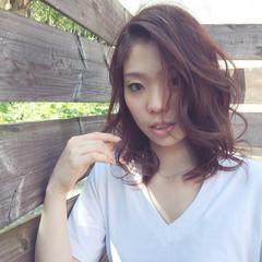 夏 コンサバ ゆるふわ ミディアム ヘアスタイルや髪型の写真・画像