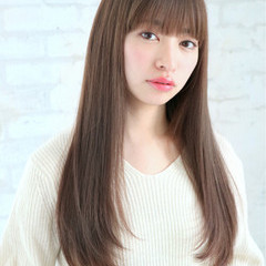 前髪あり ナチュラル 色気 ロング ヘアスタイルや髪型の写真・画像