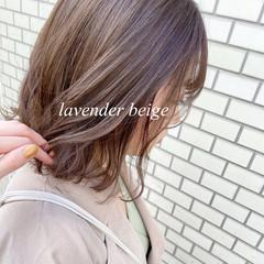ミディアム ラベンダーアッシュ ラベンダーグレージュ ブリーチなし ヘアスタイルや髪型の写真・画像