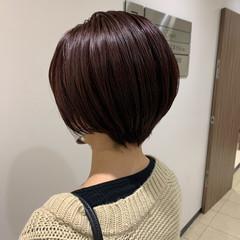 ショートヘア ピンク ミニボブ ベリーショート ヘアスタイルや髪型の写真・画像