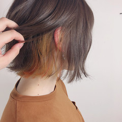 オレンジ ボブ イエロー カール ヘアスタイルや髪型の写真・画像