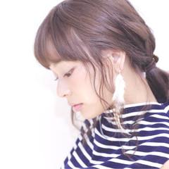 ピュア コンサバ 簡単ヘアアレンジ ミディアム ヘアスタイルや髪型の写真・画像