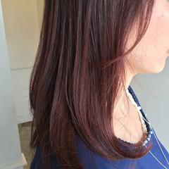 レッド ピンクアッシュ ラベンダーピンク セミロング ヘアスタイルや髪型の写真・画像