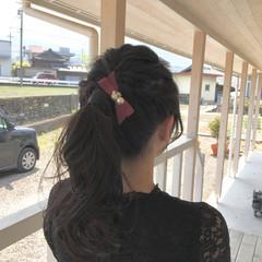 ロング ヘアアレンジ ローポニーテール フェミニン ヘアスタイルや髪型の写真・画像