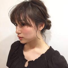 簡単ヘアアレンジ ショート ハーフアップ ミディアム ヘアスタイルや髪型の写真・画像