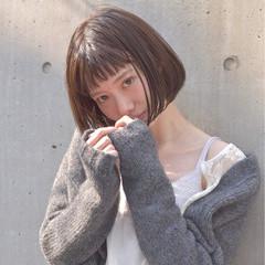 フェミニン ボブ 前髪あり 春 ヘアスタイルや髪型の写真・画像