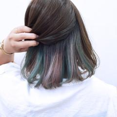 カラフルカラー ハイトーン ボブ ストレート ヘアスタイルや髪型の写真・画像