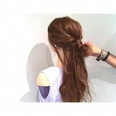 フェミニン 簡単ヘアアレンジ 夏 ヘアアレンジ ヘアスタイルや髪型の写真・画像