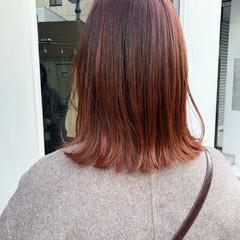 オレンジベージュ オレンジブラウン オレンジカラー アプリコットオレンジ ヘアスタイルや髪型の写真・画像