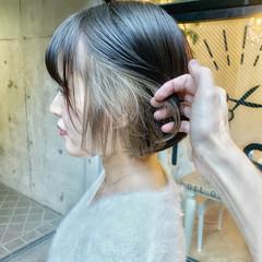 インナーカラー ハイライト ストレート ボブ ヘアスタイルや髪型の写真・画像