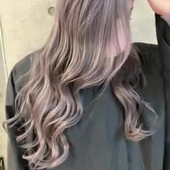 ラベンダーグレージュ ラベンダーピンク ナチュラル ロング ヘアスタイルや髪型の写真・画像