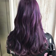 ブルーバイオレット バイオレットカラー 暗髪バイオレット ロング ヘアスタイルや髪型の写真・画像
