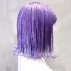 パープルアッシュ モード トワイライトパープル パープルカラー ヘアスタイルや髪型の写真・画像