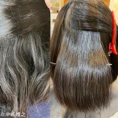 ナチュラル ボブ 髪質改善 切りっぱなしボブ ヘアスタイルや髪型の写真・画像