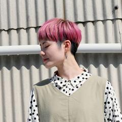 アッシュグレー ラベンダーピンク ショート アッシュベージュ ヘアスタイルや髪型の写真・画像