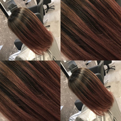外国人風カラー ブリーチオンカラー 3Dカラー ミディアム ヘアスタイルや髪型の写真・画像