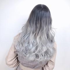 ホワイトカラー ホワイトグラデーション お洒落 グラデーションカラー ヘアスタイルや髪型の写真・画像