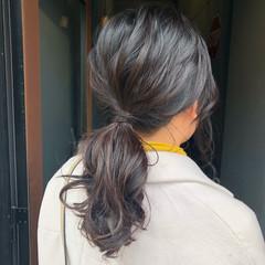 ヘアアレンジ ポニーテール ローポニーテール セミロング ヘアスタイルや髪型の写真・画像