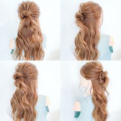 簡単ヘアアレンジ オフィス ヘアアレンジ フェミニン ヘアスタイルや髪型の写真・画像