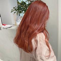 ピンクベージュ ピンク フェミニン ダブルカラー ヘアスタイルや髪型の写真・画像